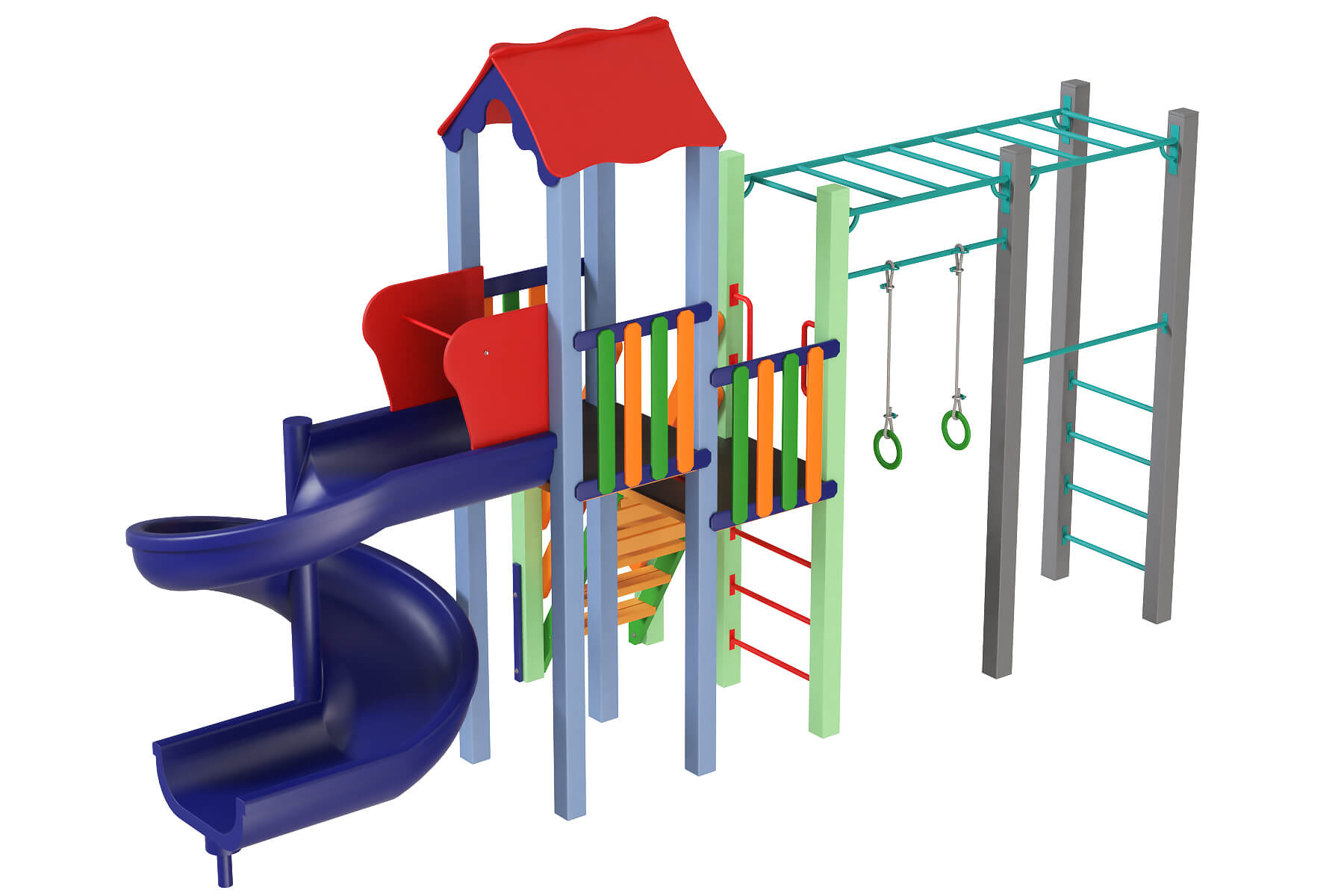 Playgrounds and components for children with the plastic slide