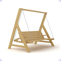 Wooden garden swings